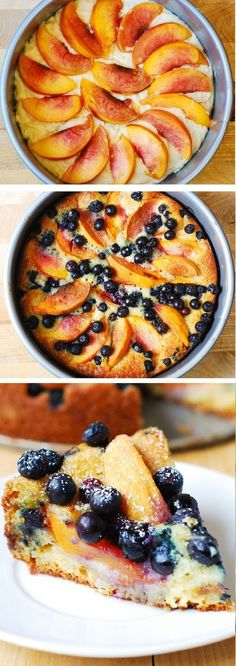 We love baking with Greek yogurt and this recipe is divine. Delicious, light and fluffy Peach Blueberry Greek Yogurt Cake made in a springform baking pan. Greek yogurt gives cake a richer texture! Healthy Desserts, Just Desserts, Delicious Desserts, Dessert Recipes, Yummy Food, Healthy Fruit Cake, Peach Cake Recipes, Light Desserts, Greek Yogurt Cake