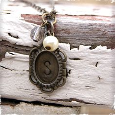 $10 Vintage Cameo Initial Necklace at VeryJane.com want!!