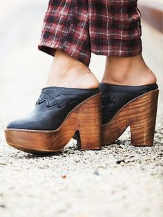 Chance Platform | Slip-on, closed toe, platform clogs with a wooden heel.  Perfected with Spanish craftsmanship.  *By Free People