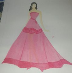 1st. The first design for the final task on the 5th semester in vhs. I have to use watercolor and it's so difficult cause it was the first time, but yeah it can be a lesson. This isn't good for the first time right? .  Okay in this design, the fabric that use is organza or another  thin fabric ^^ .. #fashiondesign #chiffon