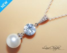 Wedding Bridal Swarovski White Pearl Necklace Pendant 925 Sterling Silver Chain Cubic Zirconia FREE US Shipping
