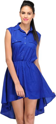 Blue Two Front Pocket Short Dress By Purple Oyster