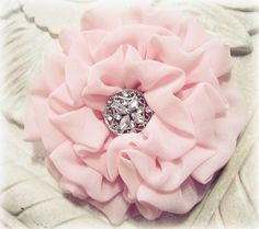 Flower Hair Clip Pastel Pink Chiffon Fabric. Pin and Hair Clip. Perfect for Bridesmaids
