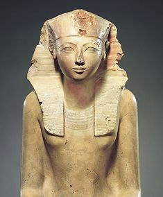 Seated Statue of Hatshepsut, New Kingdom, Dynasty 18, Joint reign of Hatshepsut and Thutmose III, ca. 1479–1458 B.C.,From Egypt, Upper Egypt; Thebes. Hatshepsut, the most successful of several female rulers of ancient Egypt, declared herself king sometime between years 2 and 7 of the reign of her stepson and nephew, Thutmose III. She adopted the full titulary of a pharaoh, including the throne name Maatkare, which is the name most frequently found on her monuments.