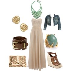Love the dress, necklace, and wedges!  Could do without the rest... and I would chose a different bolero.