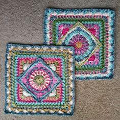 Crochet Granny Square Patterns Ravelry: The Jackfield Tile Square pattern by Christine Bateman - Motifs Granny Square, Granny Square Projects, Granny Square Crochet Pattern, Crochet Blocks, Crochet Squares, Crochet Blanket Patterns, Crochet Granny, Crochet Motif, Knitting Patterns