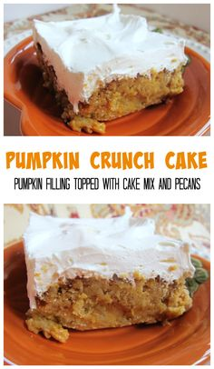 Pumpkin Crunch Cake - pumpkin filling topped with cake mix and pecans. Frost with cool whip. SO easy! I don't even like pumpkin and I love this cake!!