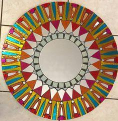 24 Vidrieras mosaico Mandala espejo rojo por SolSisterDesign