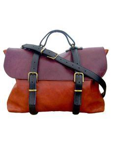 Steve Mono. Oscar leather briefcase. Orange and burgundy.  #Fashion #Men #Briefcase