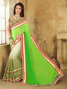 Green and White Georgette Saree with Lace Work