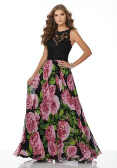 b12576d52d8 Morilee Prom 42016 Floral Printed Chiffon Prom Dress with Beaded Lace  Bodice and Open Keyhole Back.