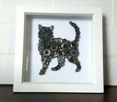 Cat Button & Beaded Art Frame Grey Cat Gray Cat Silver Cat