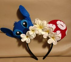 Stitch and Lilo Mickey Ears Disney. Disney Diy, Diy Disney Ears, Disney Mickey Ears, Disney Bows, Disney Crafts, Cute Disney, Disney Babies, Disney Ears Headband, Disney Headbands