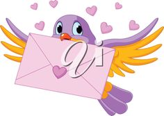 iCLIPART - Clip Art Illustration of cute bird with love letter