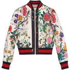 Gucci Flora Snake Print Silk Bomber ($2,000) ❤ liked on Polyvore featuring outerwear, jackets, ready to wear, women, white jacket, flower jacket, bomber jacket, white zip jacket and white silk jacket