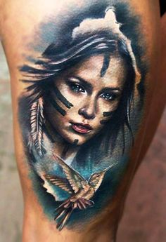 Realistic Woman Tattoo by Charles Huurman | Tattoo No. 12388