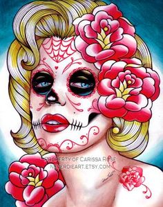 ORIGINAL 11x14 PAINTING - Day of the Dead Marilyn Monroe