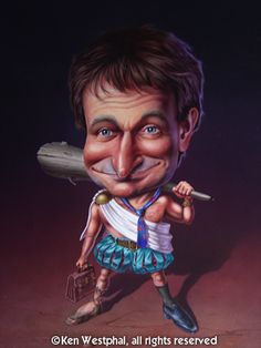 robin williams caricatures   Caricature of Robin Williams commissioned by Warner Brothers for the ...