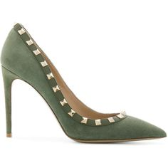 Valentino Valentino Garavani Rockstud pumps ($825) ❤ liked on Polyvore featuring shoes, pumps, green, high heel stilettos, pointed toe pumps, embellished pumps, slip on shoes and green shoes
