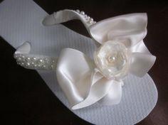 Flip Flops/Wedges for Bride. Wedding Flip Flops. Ivory Flip Flops.Satin and Pearl Straps.Beach Wedding.Organza Rose Center.