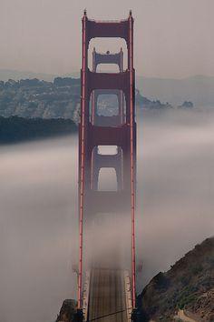 golden gate bridge + fog, san francisco, california   travel destinations in the united states + architecture #wanderlust