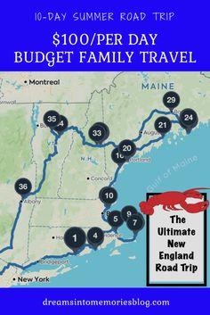 The Ultimate New England Road Trip Melhor viagem por estrada na Nova Inglaterra New England States, New England Fall, New England Travel, Road Trip With Kids, Family Road Trips, Family Travel, Family Vacations, Summer Road Trips, Road Trip On A Budget