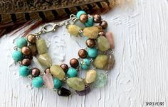 Layered Gemstone and Pearl BoHo Style Bracelet.... by simplymeart, $70.00