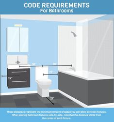 By combining design rules with building codes, you could create the bathroom of your dreams. We'd love to help! Learn How Building Code and Good Design Rules Can Help You Design a Better Bathroom! Small Bathroom Layout, Bathroom Design Layout, Best Bathroom Designs, Bathroom Design Luxury, Bathroom Ideas, Tile Layout, Simple Bathroom, Bathroom Vanities, Bath Design
