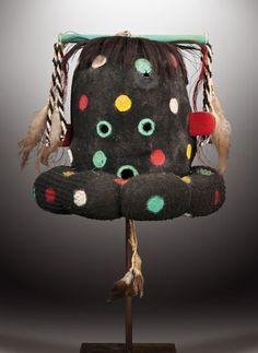 Hopi Kokosori mask Arizona, USA  10 inches, felt, wool, feathers and leather