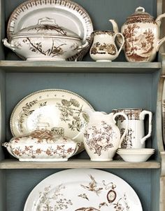 I love the blue/gray background with the brown transferware.  It looks so elegant.