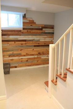 reclaimed wood wall-- made of salvaged flooring planks