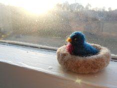 Bluebird in Nest / Summer Nature Table Felt by FoxWoolDesigns