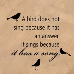 A bird sings because it has a song!