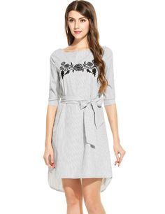 Gray 3/4 Sleeve Striped Off Shoulder Pullover Straight Casual Dress