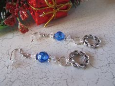 Blue and Silver Earrings Blue Pierced by BrownBeaverBeadery, $6.00