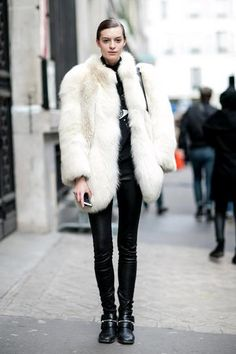 model off duty: paris street style - oversized winter white fur coat + leather pants.
