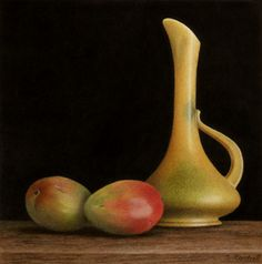 Sheila Cantrell - Artist - Colored Pencil. This is amazing, capturing of the glow on the fruit and the alabaster vase. How do you do this with pencils?