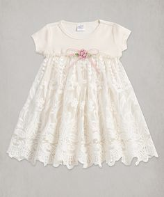 Love this Tesa Babe Ivory Lace Accent Babydoll Dress by Tesa Babe on #zulily! #zulilyfinds