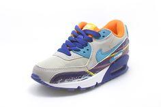 cheaper d0c46 de026 Kid Sneakers Nike Air Max 90 Premium LTR Gray Blue Orange Nike Air Max