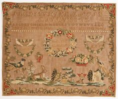 A 19th Century EUROPEAN Sampler ~ Museums On Line Textile Patterns, Textiles, Embroidery Sampler, Cross Stitch Samplers, Yesterday And Today, Needle And Thread, Needlework, Museum, Quilts