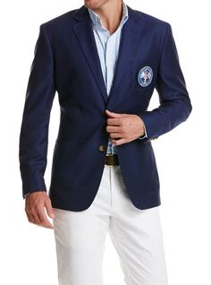 Dress for success! Our handsome wool men's blazer is tailored to give you the winning edge. And with its America's Cup crest, you'll look dandy hoisting the oldest trophy in sports.
