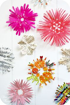 Paper Snowflakes made with Bright Paper