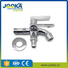 Double outlet garden and washing machine faucets double handle