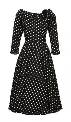 Black and white polka-dot wedding guest dress. So sophisticated and classic. Add red shoes to complete your look!