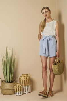 Tie waist  shorts in stripe.  (More Colors)