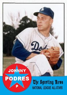 1963 Topps Johnny Podres All Star. Los Angeles Dodgers. Baseball Cards That Never Were