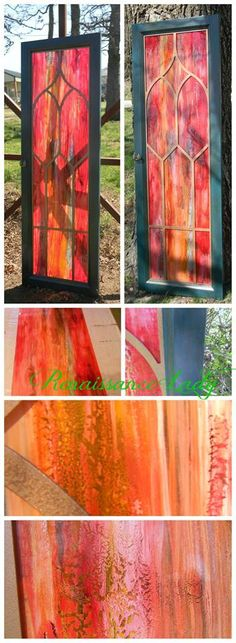 Creating the right ambiance for a Shimmering Spiritual Atmosphere. Our second Cathedral Stained Glass is boldly done in tones of red, yellow and teal with accents of bronze metallic. Measuring 52 inches long by 17 1/2 inches wide. A touch of beauty for your home. Created by myself using the Stain Glass Technic and Unicorn SPiT. Available for purchase. #StainedGlass #UnicornSPiT #HierloomTraditions #FeatheredNest #CathedralWindow www.facebook.com/Renaissance2Lady Painting Tips, Chalk Painting, Painting Techniques, Unicorn Spit Stain, Painted Furniture, Stain Furniture, Real Milk Paint, Recycled Garden Art, Den Ideas