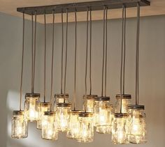 Love the mason jars as light fixtures