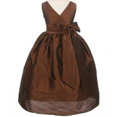 http://childrensdressshop.com/home/820-chocolate-taffeta-v-neck-wrap-dress.html  Classic taffeta V-wrap flower girl dress