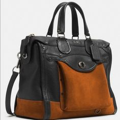"""Coach Workwear Rhyder 33 Colorblock Satchel EUC Limited edition, Coach Fall 2014 collection. Made of hued suede & pebbled leather. This style has antiqued hardware, feather-shaped charms, & 2 exterior pockets. Inside zip, cell phone & multifunction pockets, zip closure, fabric lining, outside turnlock pocket. Handles: ~4.75"""" drop, longer strap: ~19.5"""" drop. Includes dust bag, care booklet, & Coach gift box. Used < 5 times. See last picture for scratches on hardware. There is minor pilling on…"""